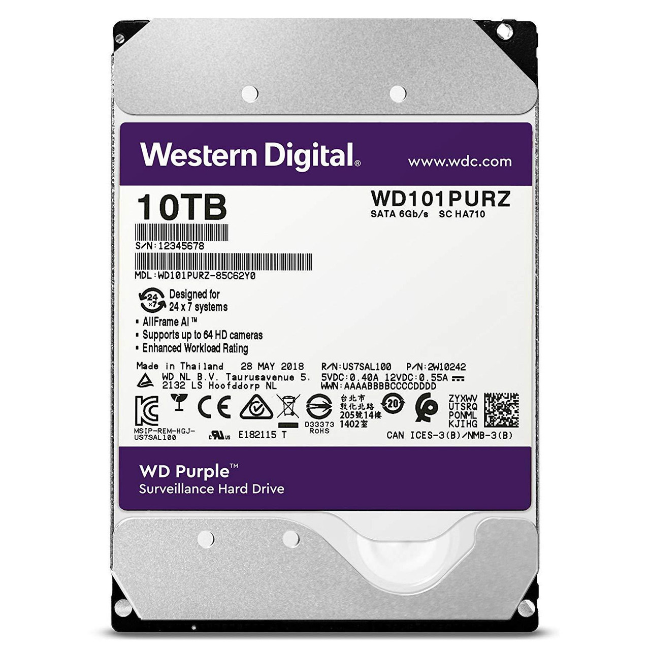 Жесткий диск для видеонаблюдения HDD 10Tb Western Digital Purple Surveillance SATA 7200rpm WD101PURZ