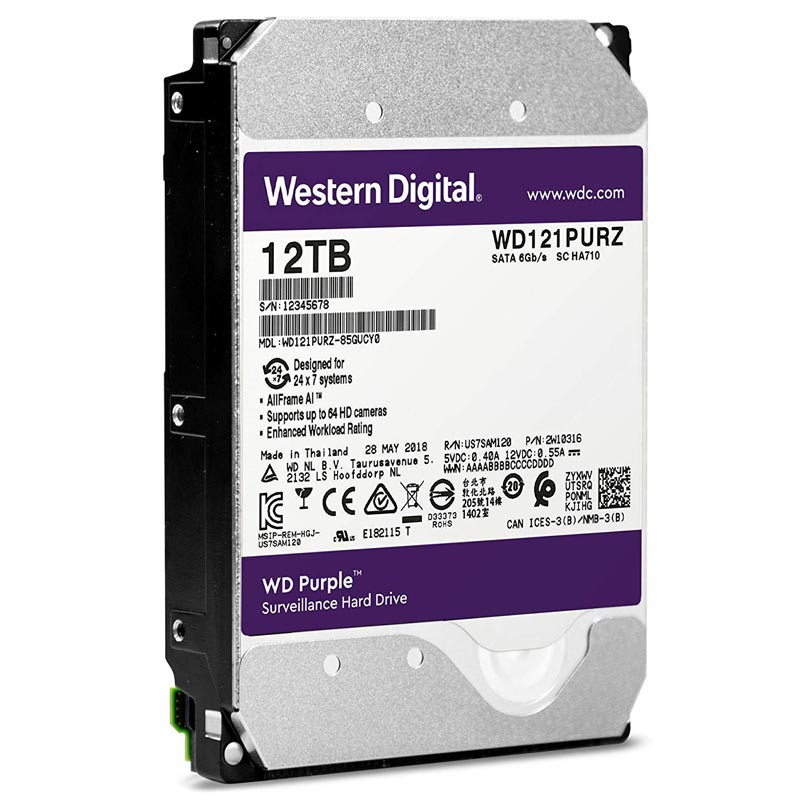 Жесткий диск для видеонаблюдения HDD 12Tb Western Digital Purple SATA 6Gb/s 5400rpm WD121PURZ