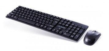 Комплект Клавиатура + Мышь, Delux, DLD-1505OGB, Беспроводная 2.4G, 1000DPI, Нано-ресивер, 12 мультимедиа-клавиш, Батарейки в комплекте, Чёрный,