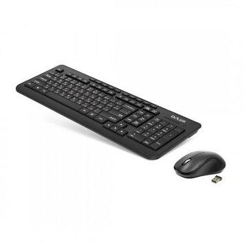 Комплект Клавиатура + Мышь, Delux, DLD-3191OGB, Беспроводная 2.4ГГц, Оптическая мышь, 1000DPI, 10 мультимедиа-клавиш, Анг/Рус/Каз, Батарейки в