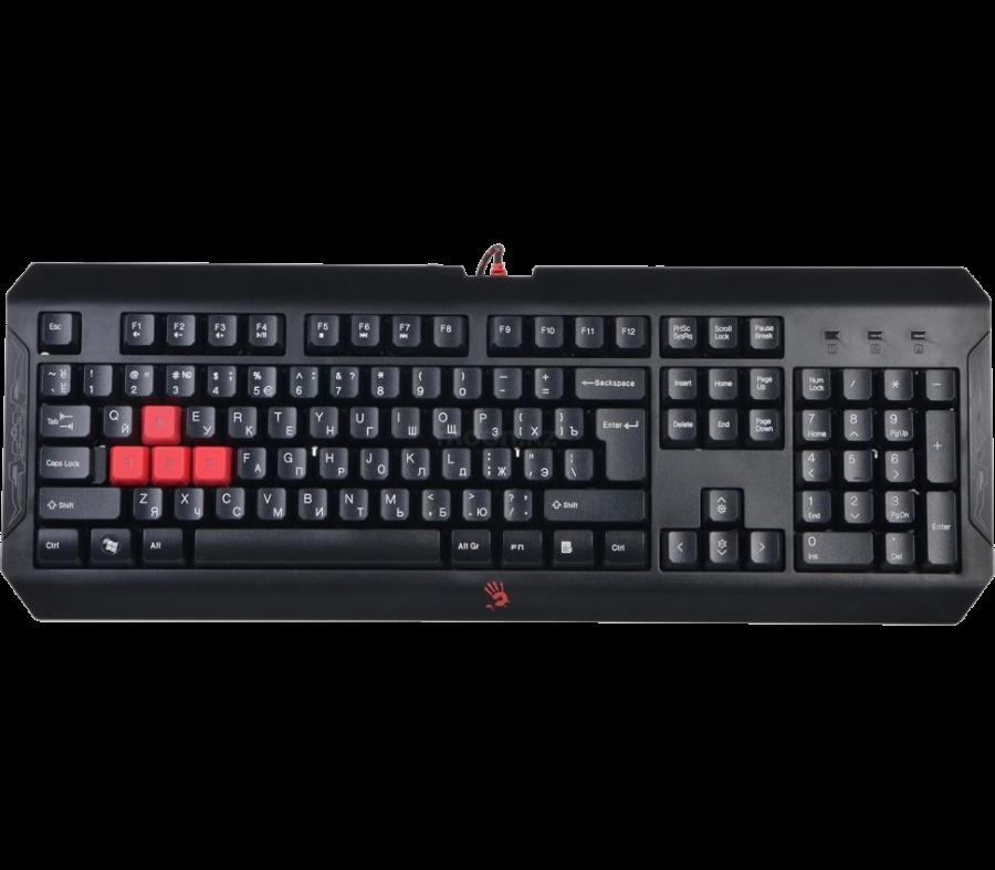 Клавиатура игровая Bloody Q100 USB, LED-подсветка клавиш, 1.8 m