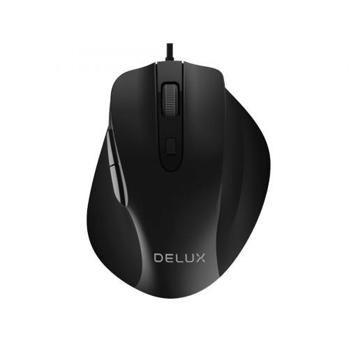Мышь, Delux, DLM-517OUB, Оптическая, USB, 1000-1600-2400- 3200 dpi, Длина провода 1, 6м, Чёрный