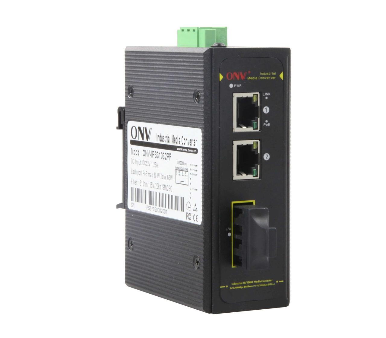 Коммутатор PoE индустриальный 2-портовый ONV IPS31032PS-S