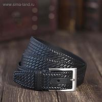Ремень мужской, плетёнка, пряжка металл, ширина - 3,5 см, цвет чёрный