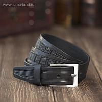 Ремень мужской, пряжка металл, ширина - 3,5 см, цвет чёрный