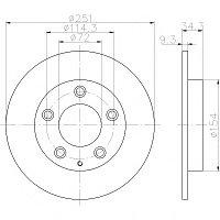 Тормозные диски Mazda 323 (94-98, задние, D250, Optimal)