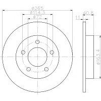 Тормозные диски Mazda  3 (03-..., задние, D265, Optimal)