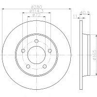 Тормозные диски Mazda  3 (03-..., задние, D280, Optimal)