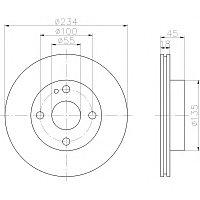 Тормозные диски Mazda  323  (89-94, задние,D234, Veka)