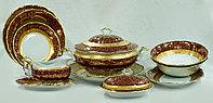 Сервиз столовый 6 персон 26 предметов Чехия Лист лента матовая красный
