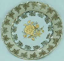 Блюдо круглое 30см Золотая роза бежевая
