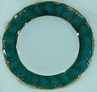 Блюдо круглое 30см золотая отводка зеленый