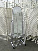 Зеркало широкое белый цвет на колесиках