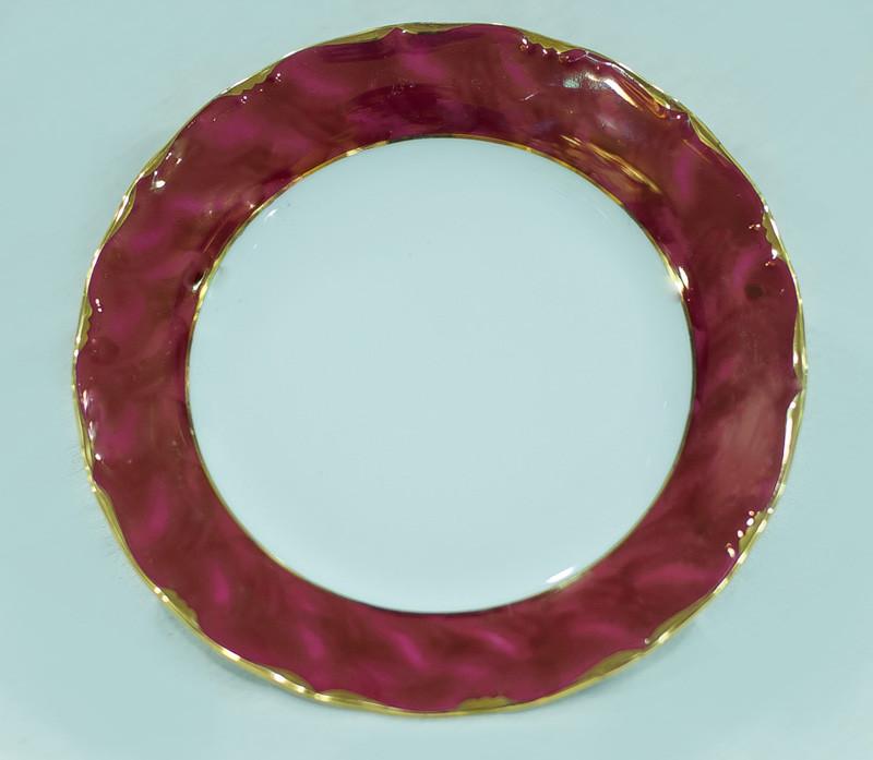 Тарелка мелкая 25см Бордовый золотая отводка