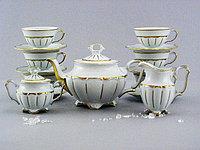 Сервиз чайный 6 персон 15 предметов Матовая золотая полоса