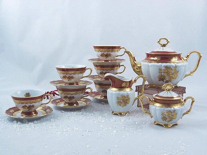 Сервиз чайный 6 персон 15 предметов Виноградная лоза Бордо