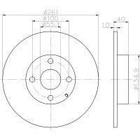 Тормозные диски Mazda  323  (98-04, задние,D261, Optimal)