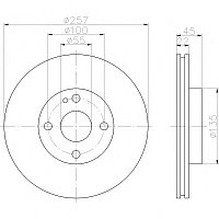 Тормозные диски Mazda  323  (94-98, передние, Optimal,D257-4d)