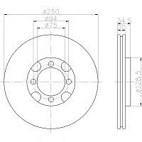 Тормозные диски Mazda  626 (83-87, передние, D250-tn20, Optimal,)