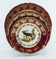 Набор тарелок 6 персон 18 предметов Охота бордовая Carlsbad, Чехия