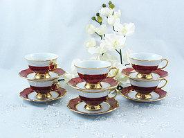 Набор чайных пар 6 персон 12 предметов Бордовый золотая отводка