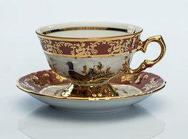 Набор чайных пар 6 персон 12 предметов Охота бордовая Carlsbad, Чехия