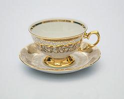 Набор чайных пар 6 персон 12 предметов Лист бежевый Carlsbad, Чехия