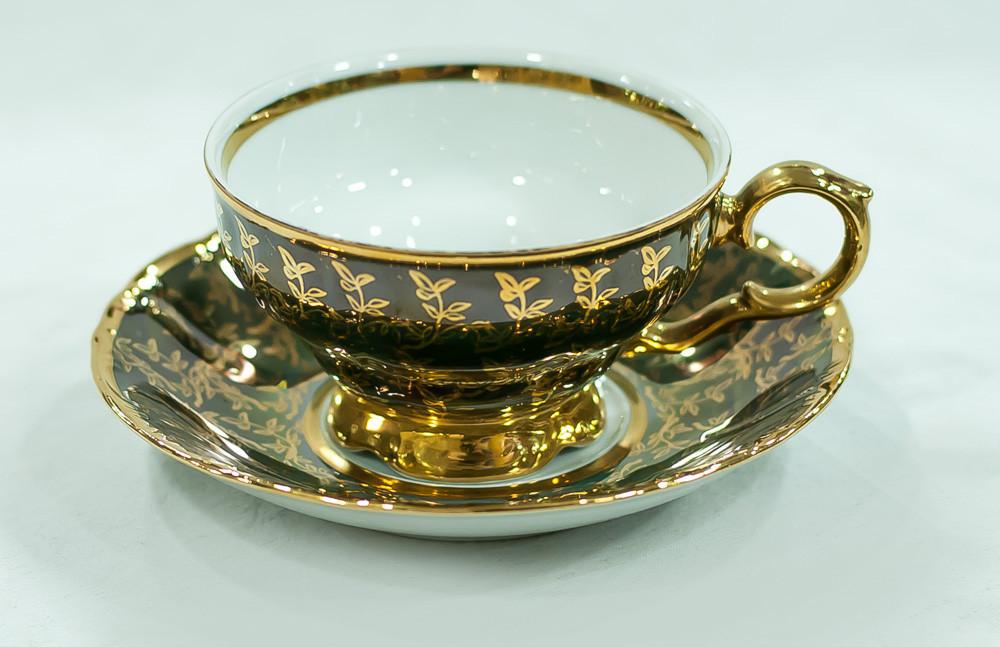 Набор чайных пар 6 персон 12 предметов Лента золото+черный