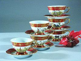 Набор чайных пар 6 персон 12 предметов Охота бордовая