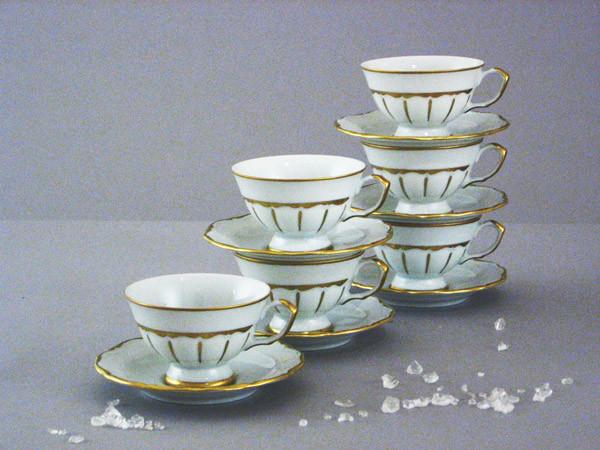 Набор чайных пар 6 персон 12 предметов Матовая золотая полоса