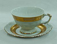 Набор чайных пар 6 персон 12 предметов Лента золото+кофейный