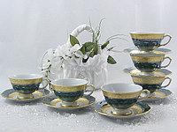 Набор чайных пар 6 персон 12 предметов Лента матовая зеленый