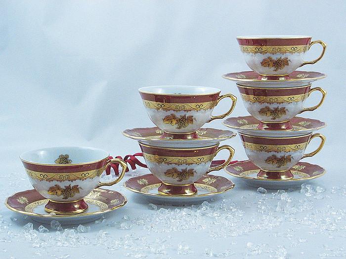 Набор чайных пар 6 персон 12 предметов Виноградная лоза Бордо
