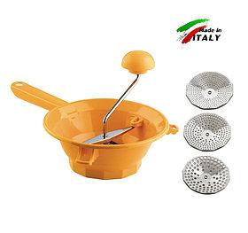 Ручная протирочная сито машина OMAC 380 Tilly 2 для протирки томатов, ягод, овощей, фруктов в пюре (3 диска)