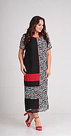 Платье Диамант-1442, черно-белый, 50