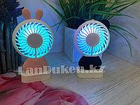 Ручной вентилятор HEJ mini  2 в 1 аккумуляторный с подсветкой и подставкой HJ-5031, фото 1