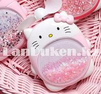 """Детский ночник вентилятор 2 в 1 аккумуляторный с подсветкой """"Hello Kitty"""", бело-розовый с блестками"""