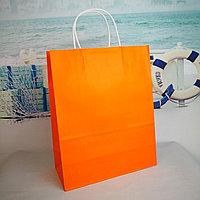 Пакет крафт оранжевый 22*26см с ручкой крученной