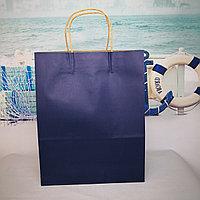 Пакет крафт темно синий 22*26см с ручкой крученной