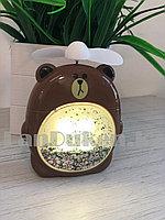 """Детский ночник вентилятор 2 в 1 аккумуляторный с подсветкой """"Медведь Браун"""" с блестками"""