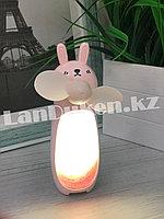 """Детский ночник вентилятор 2 в 1 аккумуляторный с подсветкой """"Зайчик"""" с блестками"""