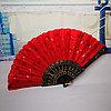 Веер текстильный с пайетками, красный