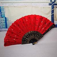Веер текстильный с пайетками, красный, фото 1