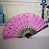 Веер текстильный с пайетками, розовый