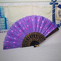 Веер текстильный с пайетками, фиолетовый