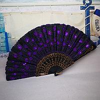 Веер текстильный с пайетками, темно фиолетовый, фото 1