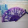 Веер текстильный с розочками, фиолетовый