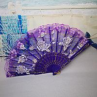 Веер текстильный с розочками, фиолетовый, фото 1