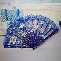 Веер текстильный с розочками, синий, фото 1