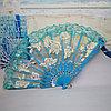 Веер текстильный с розочками, голубой